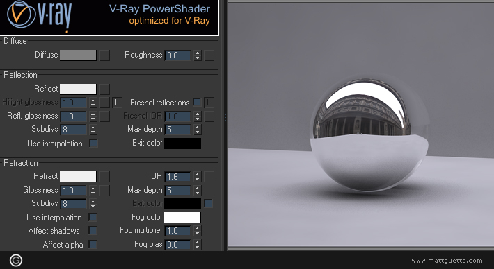 Vray shader de verre faire un shader realiste for Mirror vray material
